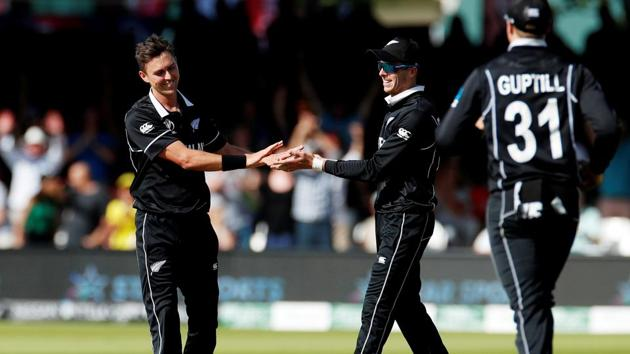 New Zealand's Trent Boult celebrates taking the wicket of Australia's Jason Behrendorff.(Reuters)