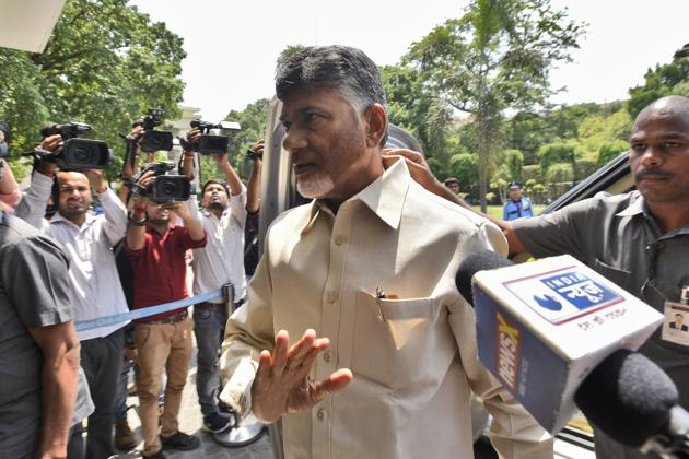 Commenting on the reduction of security to him, TDP president Chandrababu Naidu said he was not unduly worried about it.(Burhaan Kinu/HT PHOTO)