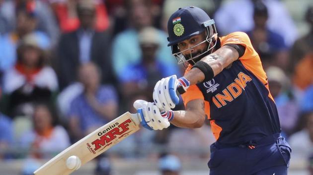 India's captain Virat Kohli bats during the Cricket World Cup match between India and England.(AP)