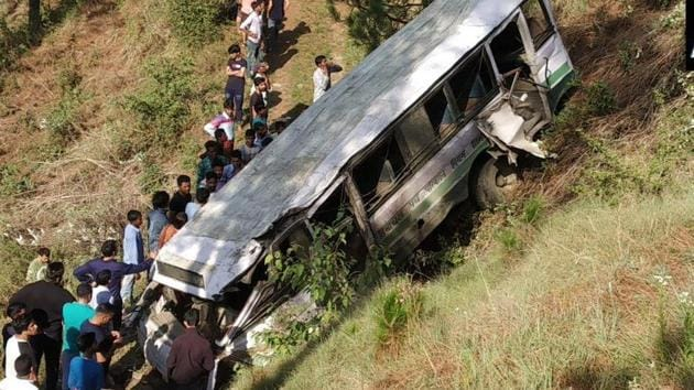 A bus, with most of its passengers as school children, fell into a gorge in Himachal Pradesh's Shimla district, killing at least four people.(ANI Photo)