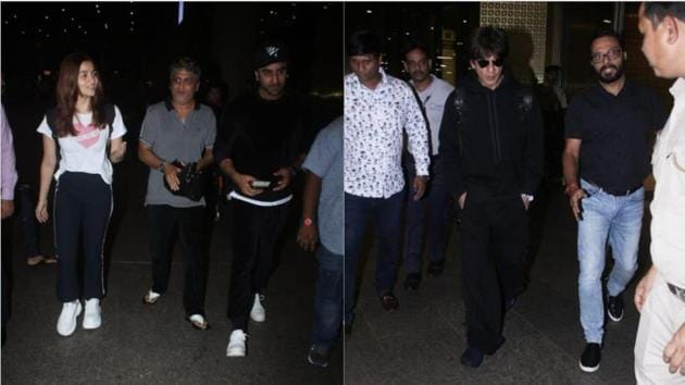 Alia Bhatt, Ranbir Kapoor and Shah Rukh Khan seen at the Mumbai airport.(Varinder Chawla)