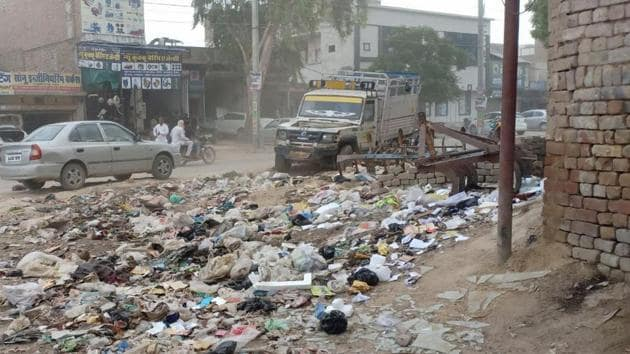 Garbage lying uncleared at the roadside in Abohar on Sunday, June 30, 2019.(HT Photo)