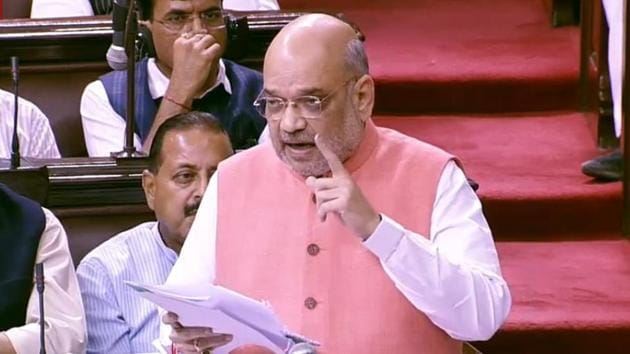 Home Minister Amit Shah piloted his twin proposals on Jammu and Kashmir through Rajya Sabha where the ruling BJP-led national coalition is in a minority.(ANI Photo)
