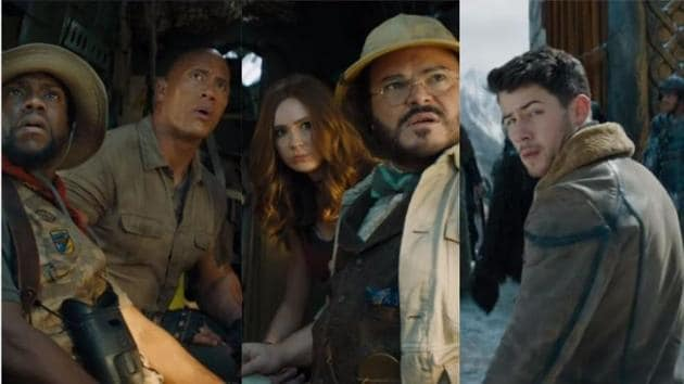 Dwayne Johnson, Karen Gillan, Jack Black, Kevin Hart and Nick Jonas in Jumanji: The Next Level.