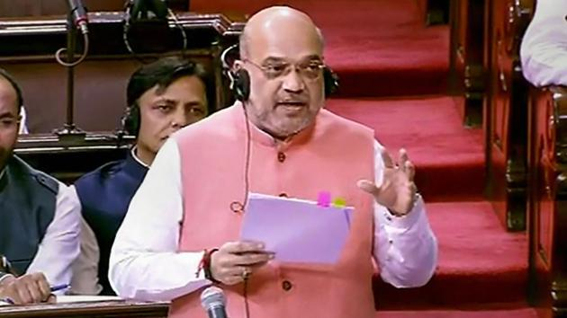 Union Home Minister Amit Shah speaks in the Rajya Sabha during the Budget Session of Parliament, in New Delhi, Monday, July 01, 2019.(PTI photo)