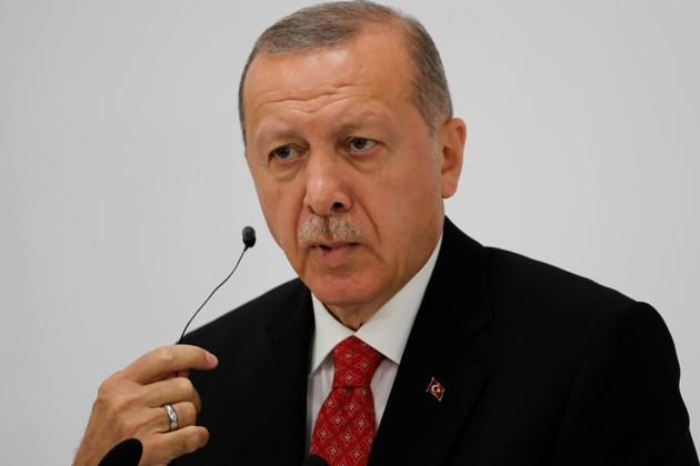 Turkey's President Tayyip Erdogan holds a news conference on the final day of the G20 leaders summit in Osaka.(Reuters)