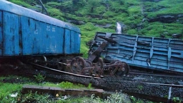 Several Pune-Mumbai inter-city and long-distance services were affected as a goods train between Karjat and Lonavla derailed in the early hours of Monday.(ANI)