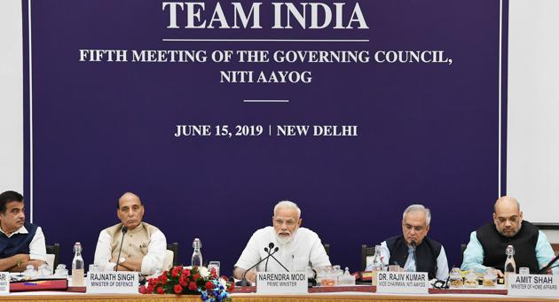 The fifth meeting of the governing council of the NITI Aayog, New Delhi, June 15. The primary fault line in India's fiscal federal architecture is this: the fiscal centralisation, necessary for poorer states, has in fact benefited richer states. Negotiating this fault line will require radical reforms in the design of central schemes(PTI)
