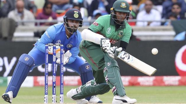 Shakib Al Hasan in action during the ICC World Cup 2019 encounter against India.(AP)