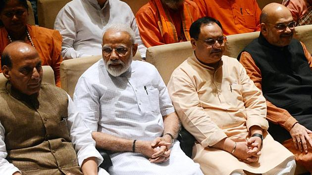 Defence minister Rajnath Singh, Prime Minister Narendra Modi, BJP working president JP Nadda and Home Minister Amit Shah during the BJP parliamentary party meeting at Parliament library in New Delhi on Tuesday.(ANI photo)