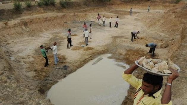 Government is reorienting its flagship rural employment guarantee scheme towards water conservation by reserving at least 75% of the 2.58 billion person days expected to be generated during 2019-20 to boost water storage and agricultural activities in the country.(HT Photo)