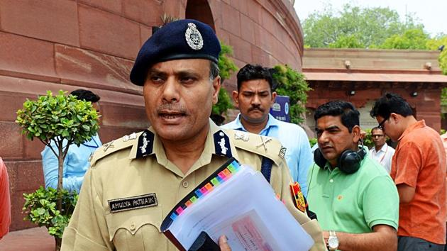 Delhi Police Commissioner Amulya Patnaik in Parliament after meeting Home Minister Amit Shah over the Chandni Chowk incident in New Delhi on Wednesday.(ANI PHOTO.)