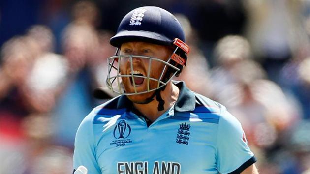 England's Jonny Bairstow celebrates his century against New Zealand.(Action Images via Reuters)