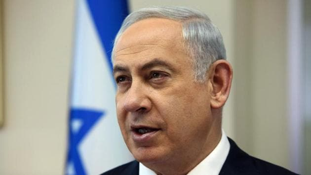 "Israeli Prime Minister Benjamin Netanyahu on Tuesday accused Iran of breaching the nuclear deal in order to ""blackmail"" the international community.(AFP Photo)"