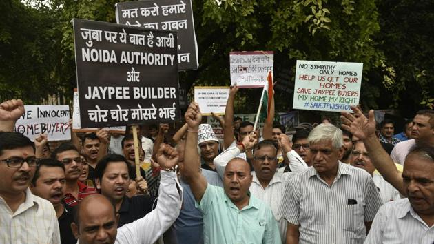 """The homebuyers complained that """"if no resolution plan is accepted, JIL will automatically go into liquidation, thereby leaving thousands of homebuyers in the lurch and without any remedy.(HT File Photo)"""