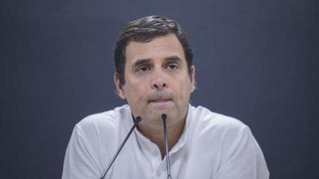 Congress leaders and workers staged a sit-in on Tuesday to cajole an unrelenting Rahul Gandhi to reconsider his decision to step down as party president.(Bloomberg)