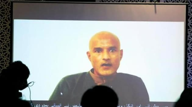 Former Indian navy officer Kulbhushan Sudhir Jadhav is seen on a screen during a news conference at the Ministry of Foreign Affairs in Islamabad, Pakistan on December 25, 2017. (Reuters)