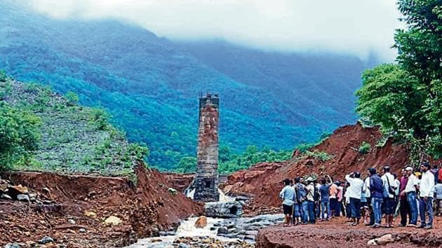 A view of the Tiware dam which breached following incessant rains, At least 14 people were killed and many went missing after Tiware dam broke on Tuesday night amid heavy rains in Chiplun taluka of Ratnagiri district India, on Wednesday, July 3, 2019. (Photo by Anil Phalke)