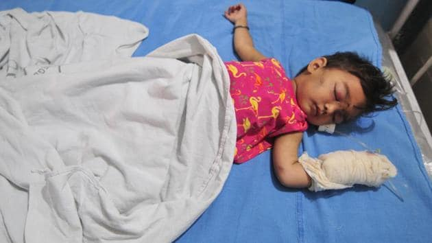The three-year-old girl, who lost her family in a bus accident in Jammu and Kashmir's Kishtwar.(HT Photo)