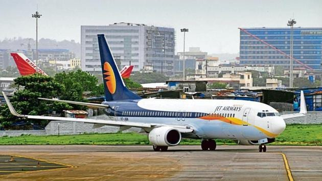 Jet airways Aircraft taxis for take off at Mumbai International Airport in Mumbai, on July 24, 2009.(Photograph: ABHIJIT BHATLEKAR/MINT)