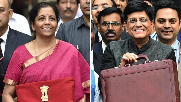 Making a departure from the norm, Finance Minsiter Nirmala Sitharaman opted for a red folder with national emblem, the Ashoka Chakra, on the front tied together with a string instead of a briefcase.(HT photos)