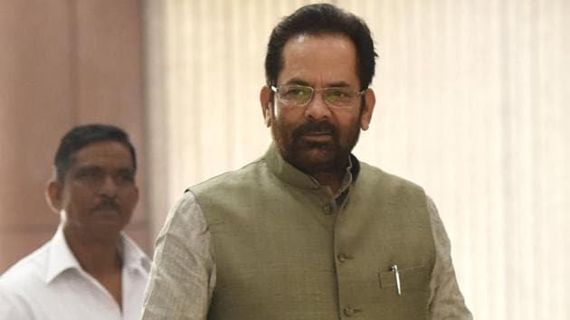 Minister of State for Parliamentary Affairs, Mukhtar Abbas Naqvi(Hindustan Times)