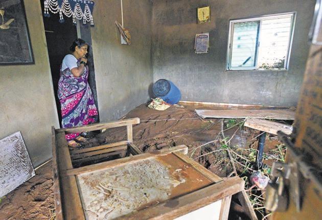 The dam breach incident destroyed the house of Manda Bhagwan Dhadve (65), survivor.(Pratham Gokhale/HT Photo)