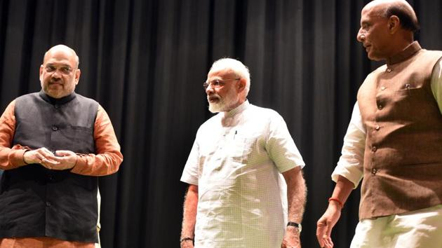 Home Minister Amit Shah, Prime Minister Narendra Modi and Union Minister of Defence of India Rajnath Singh during the BJP parliamentary party meeting, at Parliament Library, in New Delhi, India, on Tuesday, July 02, 2019.(Sonu Mehta/HT PHOTO)