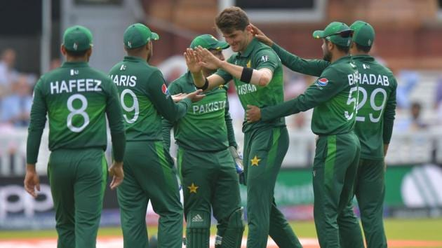 Pakistan's Shaheen Shah Afridi (C) celebrates the wicket of Bangladesh's Liton Das.(AFP)