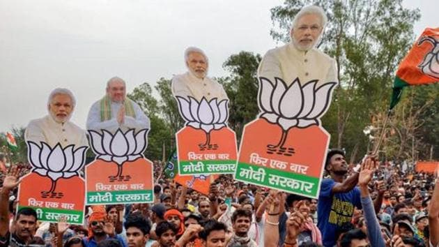 A BJP election rally in Bengal's Asansol which has seen frequent clashes between the supporters of the saffron party and the ruling Trinamool Congress.(PTI FILE PHOTO)