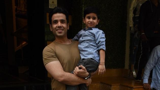 Actor Tusshar Kapoor with his son Laksshya at latter's birthday party in Mumbai on June 1, 2019.(IANS)