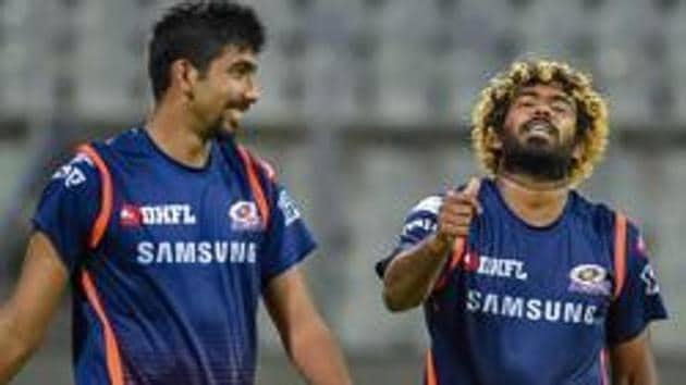 Lasith Malinga and bowler Jasprit Bumrah during a practice session.(PTI)
