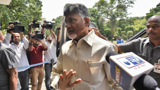 TDP president N. Chandrababu Naidu made the first public appearance in his native constituency Kuppam in Chittoor district last week after the party's defeat in the Andhra Pradesh assembly elections.(HT PHOTO)