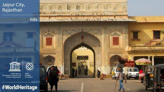 The Walled City of Jaipur, known for its iconic architectural legacy and vibrant culture, Saturday made its entry into the UNESCO World Heritage Site list.(UNESCO/Twitter)
