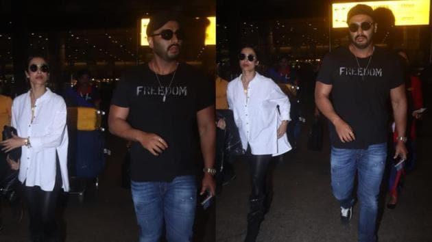 Malaika Arora and Arjun Kapoor at the Mumbai airport.(Varinder Chawla)
