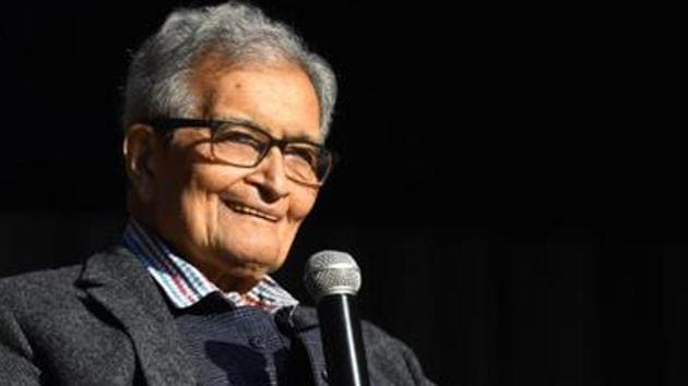 """Economist Amartya Sen, speaking at an event in Jadavpur University, said unlike 'Maa Durga', the 'Jai Shri Ram' slogan is not associated with the Bengali culture and is used as a """"pretext to beat up people"""".(Amal KS/HT PHOTO)"""