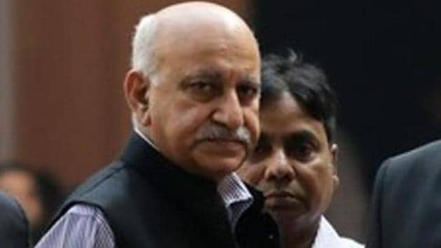 Former Union Minister MJ Akbar on Saturday appeared before Additional Chief Metropolitan Magistrate Samar Vishal for his cross-examination in connection with a defamation case filed by him against journalist Priya Ramani.(REUTERS)