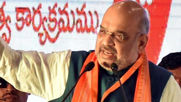 Union Home Minister Amit Shah addresses during the membership drive of BJP.(ANI Photo)