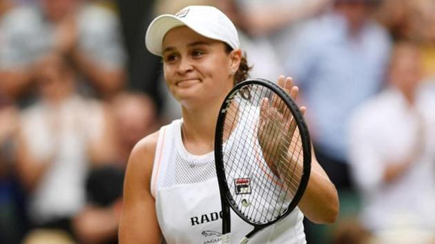 Australia's Ashleigh Barty celebrates winning her third round match Britain's Harriet Dart.(REUTERS)