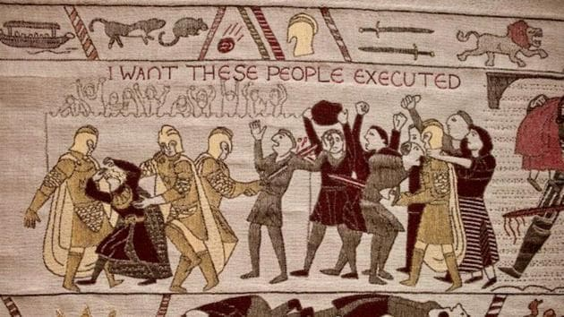 It's done in the style of the Bayeux Tapestry.(@pip_jackrussell)