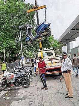 On Sunday, 63 vehicles were towed away for illegal parking.(HT Photo)