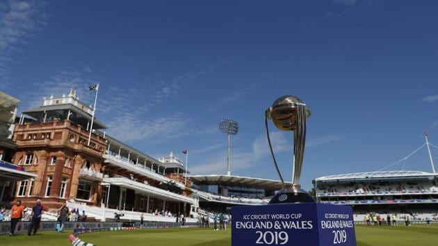 The Cricket World Cup trophy on display(AP)