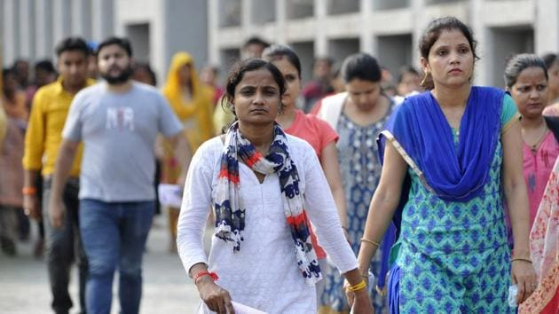 CTET 2019: Candidates come out after appearing for the Central Teacher Eligibility Test (CTET) exam, at Sector 21 centre, in Noida on Sunday, July 07, 2019.(Sunil Ghosh / Hindustan Times)