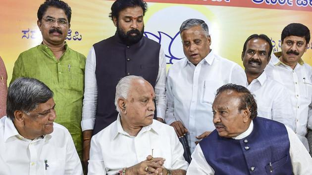 Bengaluru: Karnataka BJP State President B S Yeduyurappa with party leaders Jagadish Shettar, K S Eshwarappa and others during the BJP legislator party meeting at the party office in Bengaluru.(PTI)