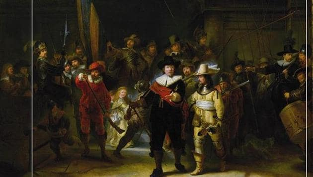 Rijksmuseum in Amsterdam has begun the biggest ever restoration of Rembrandt's The Night Watch, building a giant glass case around the famed painting so the world can see the work carried out live.(Rijksmuseum/Instagram)