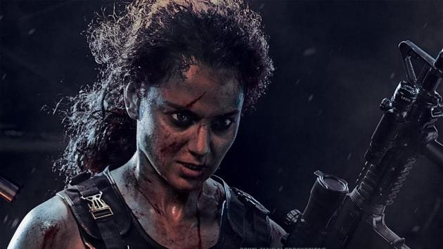Dhaakad poster shows Kangana Ranaut ready for a fight.