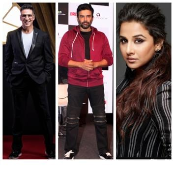 Mainstream Bollywood actors will be seen in upcoming films on scientists and science missions.((Left: Akshay Kumar; Photo: Aalok Soni/HT, Centre: R Madhavan; Photo: Fotocorp, Right: Vidya Balan; Photo: Dabboo Ratnani))
