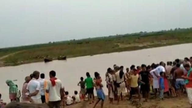 Of the 50-60 people who were in the boat, five are missing and three others have been rescued by the locals.(HT PHOTO.)