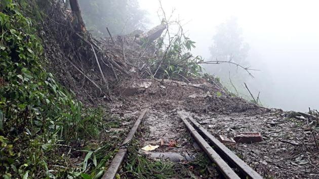 Darjeeling Himalayan Railway suspended Toy train services between NJP to Darjeeling as landslides damaged the railway truck near Tindharia on Wednesday.(ANI Photo)