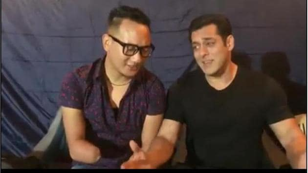 Thupten Tsering and Salman in a still from the video.